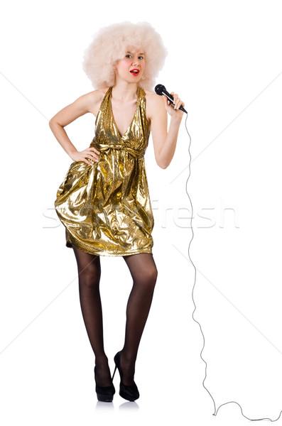 Piosenkarka mikrofon odizolowany biały tle piękna Zdjęcia stock © Elnur