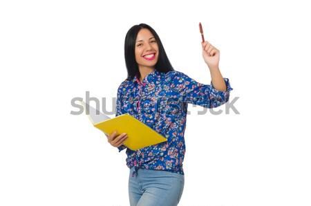 Stock fotó: Fiatal · diák · tankönyvek · izolált · fehér · nő