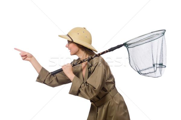 Frau tragen Safari hat weiß Hintergrund Stock foto © Elnur