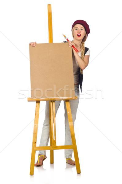 Jóvenes artista aislado blanco mujer marco Foto stock © Elnur