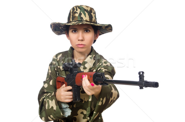 Woman with sniper weapong isolated on white Stock photo © Elnur