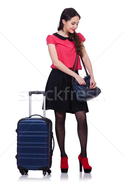 旅行 休暇 荷物 白 少女 幸せ ストックフォト © Elnur