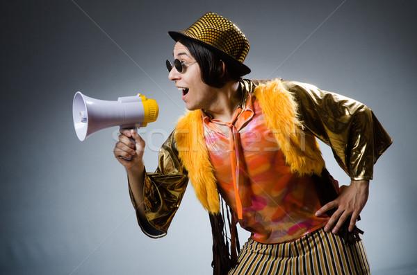 Funny hombre altavoz feliz orador retro Foto stock © Elnur