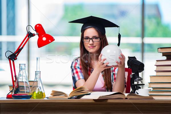 Fiatal lány vizsgák könyvek iskola orvos orvosi Stock fotó © Elnur