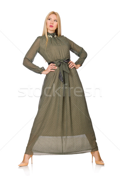 Blond hair woman in long green dress isolated on white Stock photo © Elnur