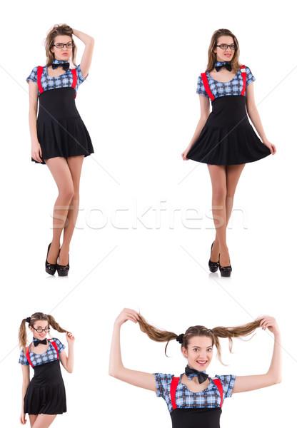 Schoolgirl isolated on the white Stock photo © Elnur