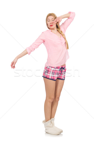 Pretty yawning girl in pink jacket isolated on white Stock photo © Elnur