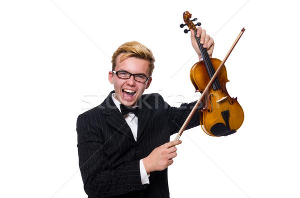 молодые музыканта скрипки изолированный белый человека Сток-фото © Elnur