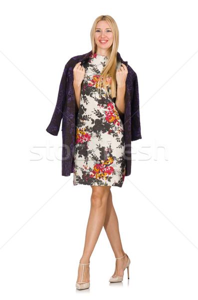 Modelo roxo cardigã isolado branco mulher Foto stock © Elnur