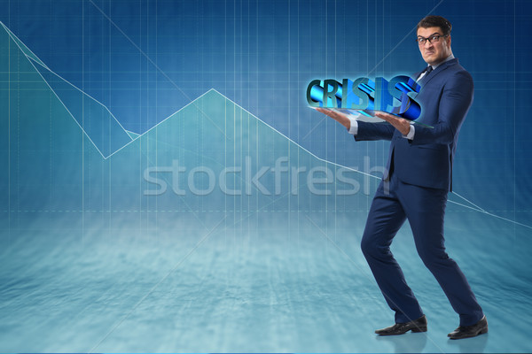 Man struggling with crisis in business concept Stock photo © Elnur