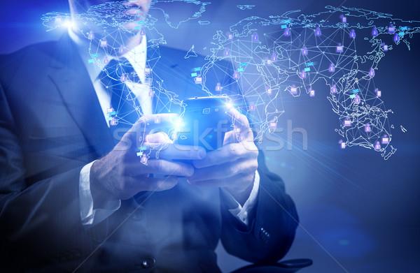Stok fotoğraf: Adam · sosyal · ağlar · iş · telefon · teknoloji · işadamı