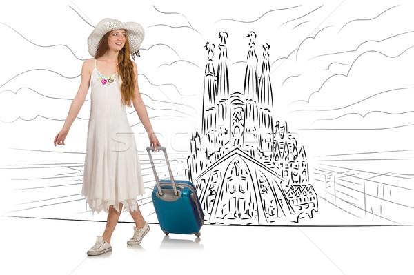 Genç kadın seyahat görmek familia mutlu arka plan Stok fotoğraf © Elnur