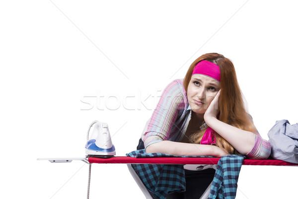 Stok fotoğraf: Genç · kadın · yalıtılmış · beyaz · çalışmak · oda