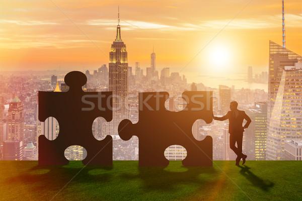 üzlet metafora csapatmunka kirakós játék égbolt iroda Stock fotó © Elnur