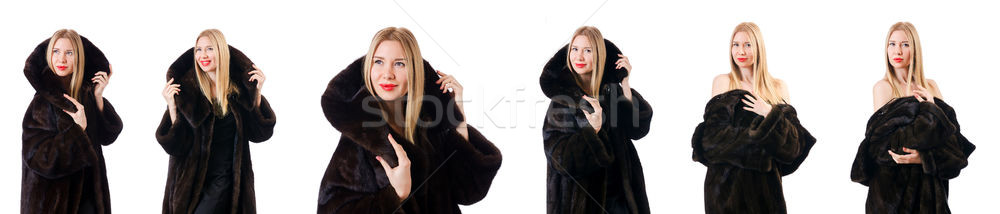 Tall model wearing fur coat Stock photo © Elnur