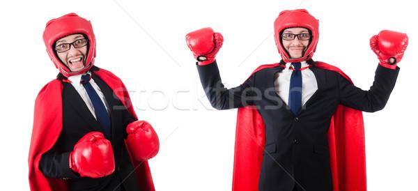 Fiatal üzletember boxoló izolált fehér öltöny Stock fotó © Elnur