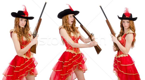 女性 海賊 孤立した 白 黒 帽子 ストックフォト © Elnur