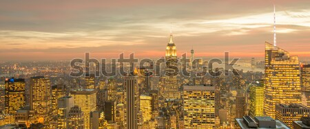 New York Manhattan zonsondergang business hemel Stockfoto © Elnur