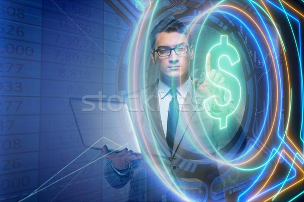Om on-line valuta comercial afaceri calculator Imagine de stoc © Elnur