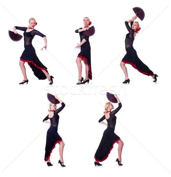 Nő tánc spanyol tánc izolált fehér Stock fotó © Elnur