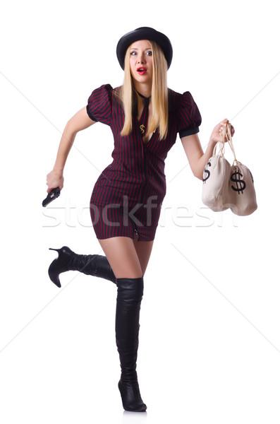 Mujer gangster arma dinero sexy modelo Foto stock © Elnur