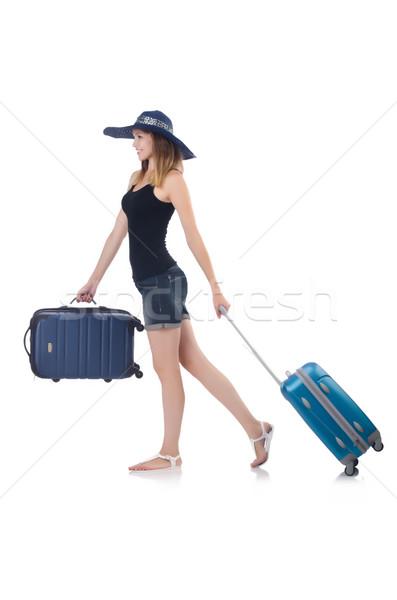 Lány bőröndök izolált fehér boldog háttér Stock fotó © Elnur