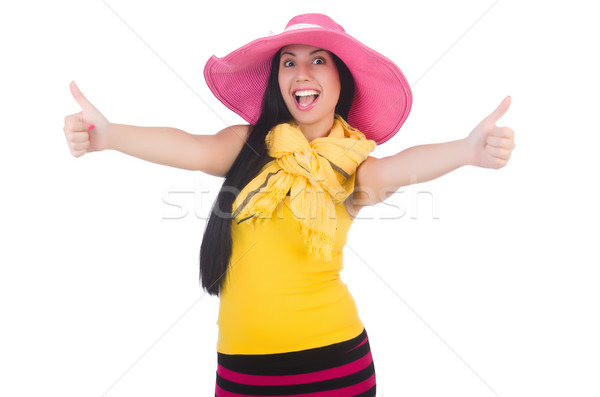 Woman wearing panama ready for summer vacation Stock photo © Elnur