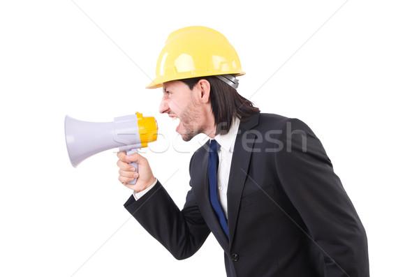 Férfi sisak hangfal fehér férfi fehér nő Stock fotó © Elnur