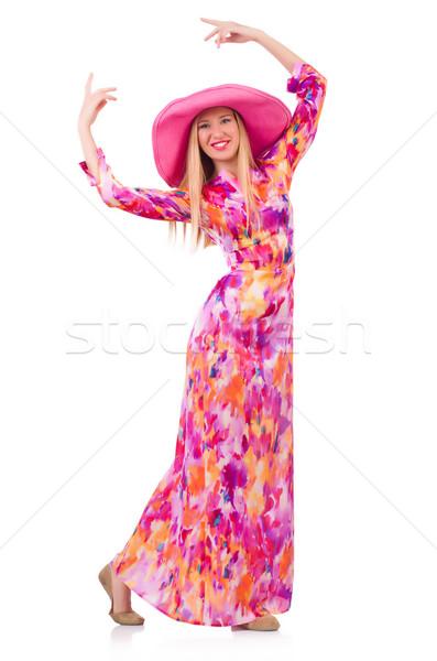 Nő Panama kalap izolált fehér lány Stock fotó © Elnur