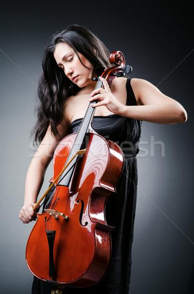 Mulher violoncelista violoncelo concerto violino Foto stock © Elnur
