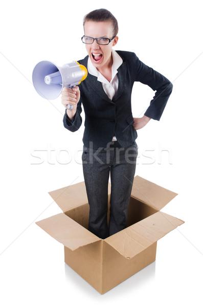 Mujer mujer de negocios altavoz cuadro oficina trabajo Foto stock © Elnur