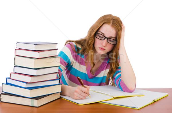 молодые студент книгах изолированный белый девушки Сток-фото © Elnur