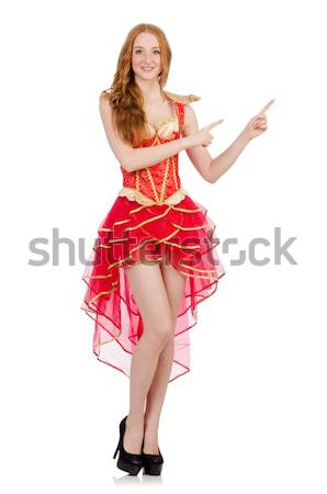 Young girl in red dress with  heart casket isolated on white Stock photo © Elnur