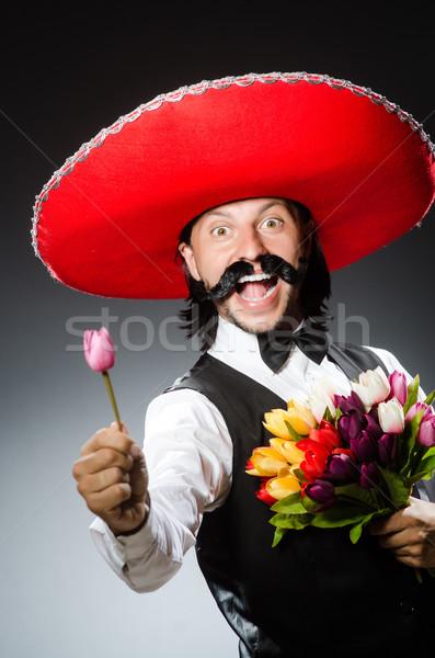Engraçado mexicano sombrero flores festa amor Foto stock © Elnur