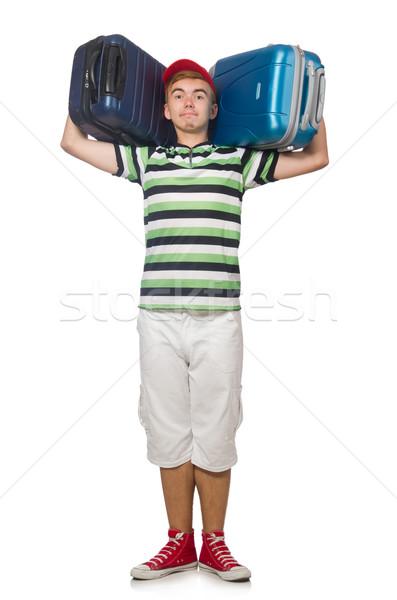 Funny człowiek walizkę odizolowany biały tle Zdjęcia stock © Elnur