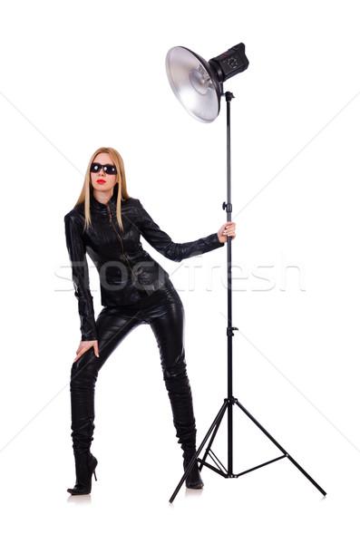 Kadın siyah deri elbise stüdyo Stok fotoğraf © Elnur