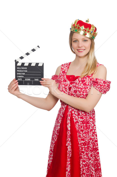 Woman with crown and movie board Stock photo © Elnur