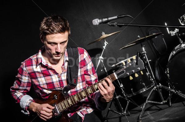 Férfi gitár koncert zene buli háttér Stock fotó © Elnur