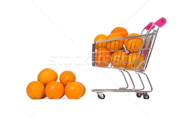 Supermarket trolley full of oranges isolated on white Stock photo © Elnur