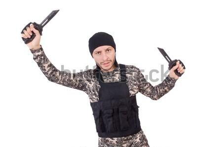 Сток-фото: смешные · солдата · изолированный · белый · человека · фон