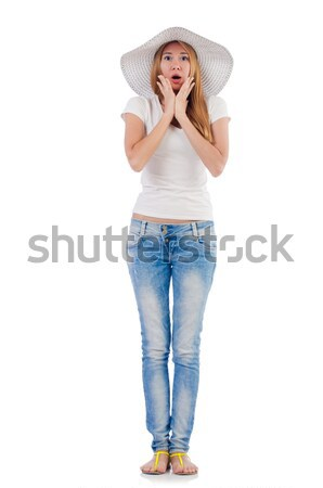 Emotional woman isolated on the white Stock photo © Elnur