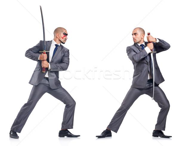 Két férfi kard izolált fehér üzlet üzletember Stock fotó © Elnur
