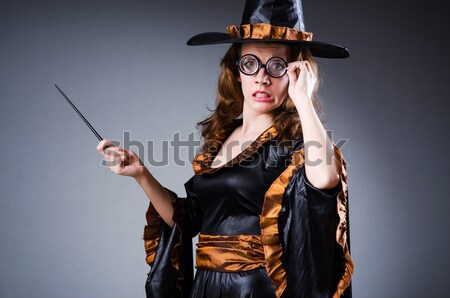 Stock photo: Woman gangster with gun in vintage concept