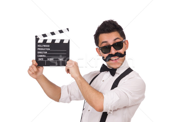 Funny with movie clapper isolated on white Stock photo © Elnur