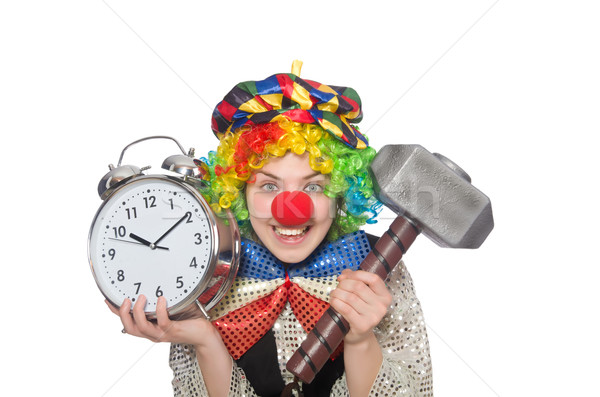 Female clown with alarm-clock and hammer isolated on white Stock photo © Elnur
