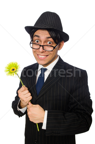 Young man in black costume with flower isolated on white Stock photo © Elnur