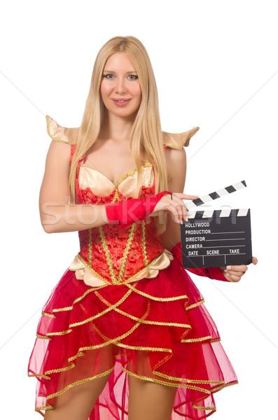 Foto stock: Mulher · vestido · vermelho · filme · conselho · fundo · arte