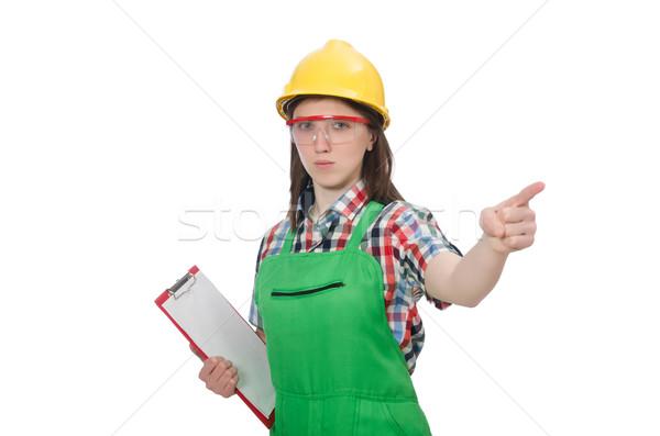 Kobiet pracownika dziennik odizolowany biały dziewczyna Zdjęcia stock © Elnur