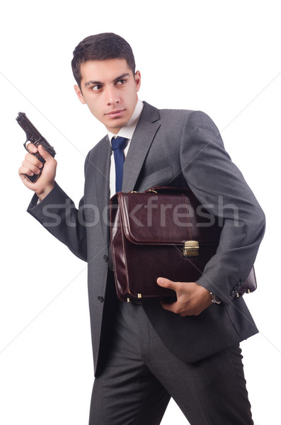 Businessman with gun isolated on white Stock photo © Elnur