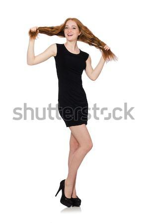 Bella ragazza nero mini abito isolato Foto d'archivio © Elnur